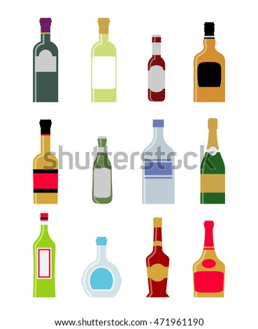 alcohol bottles and drinks set