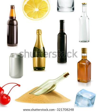 Alcohol drink in bottle, vector icons set - stock vector