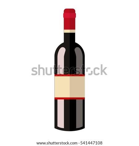 Alcohol drink wine bottle vector.
