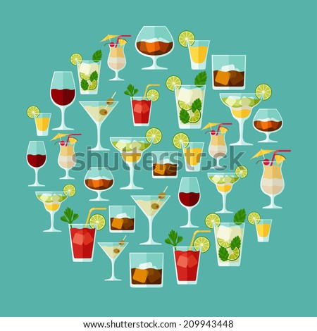 Alcohol drinks and cocktails for menu or wine list. - stock vector