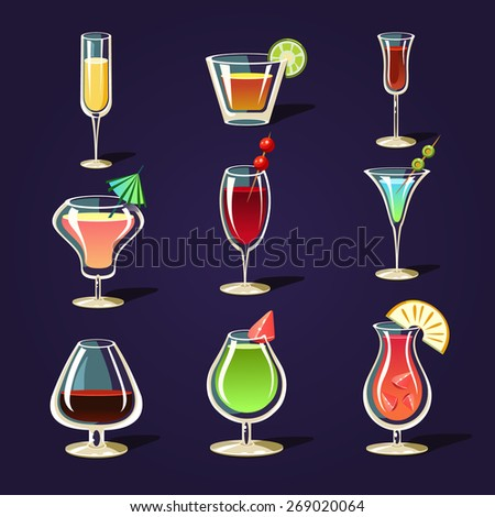 Alcohol drinks and cocktails icon set in flat design style - stock vector