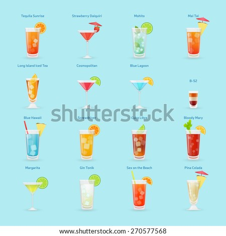 Alcohol drinks and cocktails icon set, popular cocktails, isolated vector illustration