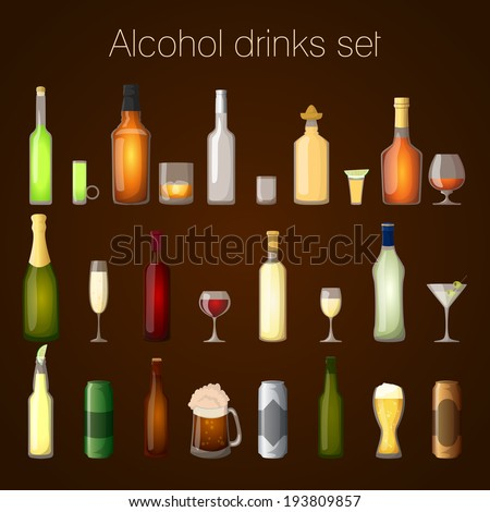 Alcohol drinks bottles and glass set of wine beer champagne martini isolated vector illustration