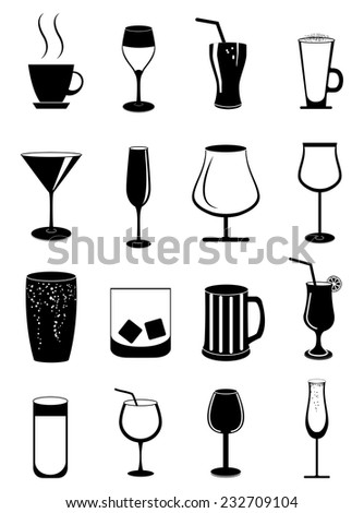 Alcohol drinks glasses icons set - stock vector