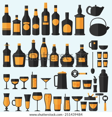 Alcohol drinks icon set flat style,vector eps10 illustration