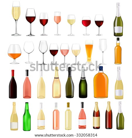Alcohol drinks in bottles and glasses: whiskey, cognac, brandy, beer, champagne, wine Vector Illustration isolated on white background.