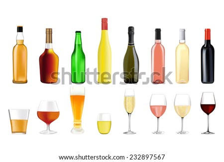 Alcohol drinks in bottles and glasses: whiskey, cognac, brandy, beer, liquor, champagne, wine