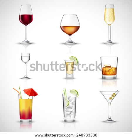 Alcohol drinks in realistic glasses decorative icons set isolated vector illustration - stock vector