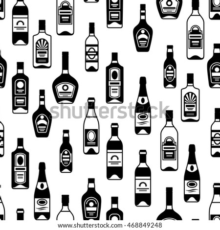 Alcohol drinks seamless pattern. Bottles for restaurants and bars.