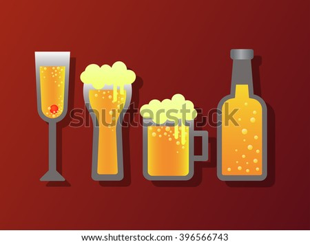 alcohol glass and bottle icon vector