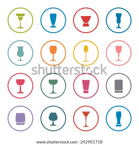 Alcohol glasses icon set - stock vector