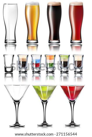 alcohol glasses set - stock vector