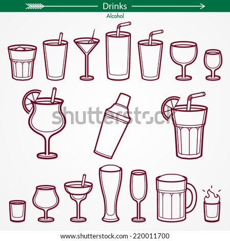 Alcohol Icon Set. Outlines Only. Pictogram Style - stock vector