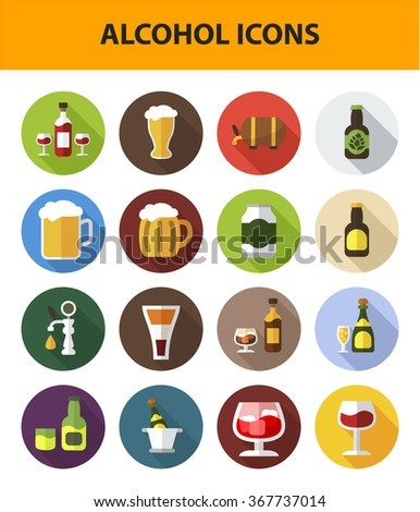 Alcohol icon set with long shadow effect for Web, Presentations and Mobile Application. Isolated on white  - stock vector