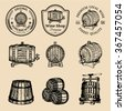 Alcohol logos. Wooden barrels collection with alcohol drinks icons. Hand sketched wooden barrels emblems. Whiskey, beer, wine logotype set. - stock photo