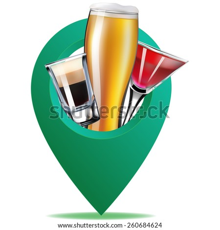 alcohol map point - stock vector