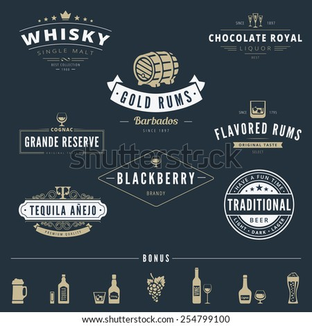 Alcohol Retro Vintage Labels Hipster Logo design vector typography lettering templates.  Old style elements, logos, logotypes, label, badges, stamps and symbols for whisky, rum, cognac, tequila, beer - stock vector