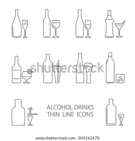 Alcohol thin lines icons set. Wine. beer, gin, champagne icons