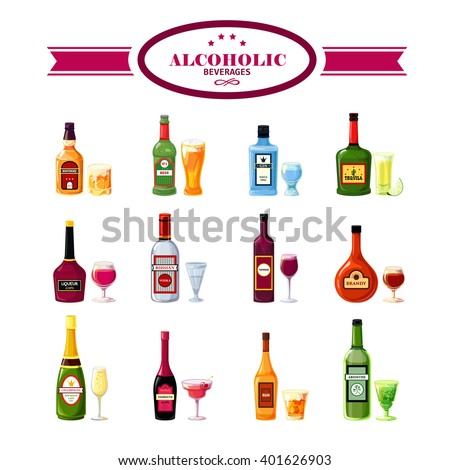 Alcoholic beverages bottles with wineglasses flat icons set for restaurant bar drinks special offers vector isolated  illustration
