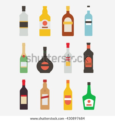 Alcoholic bottle vector icon set isolated on white background.  Alcoholic drinks in a modern flat style. A collection of popular alcoholic beverages. Alcoholic bottle design.
