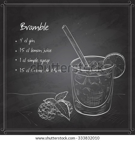 Alcoholic cocktail Bramble with Gin, lemon, sugar syrup, Blackberry liqueur on black board - stock vector
