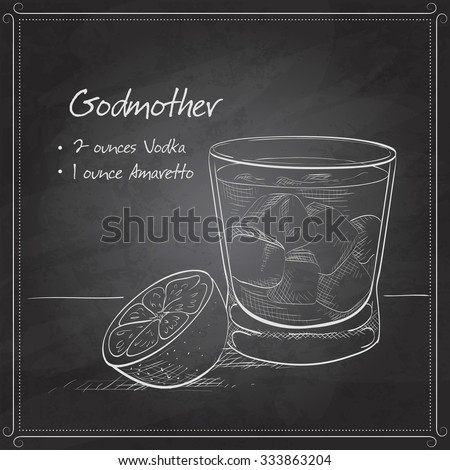 Alcoholic Cocktail Godmother with Vodka and liqueur Amaretto on black board - stock vector
