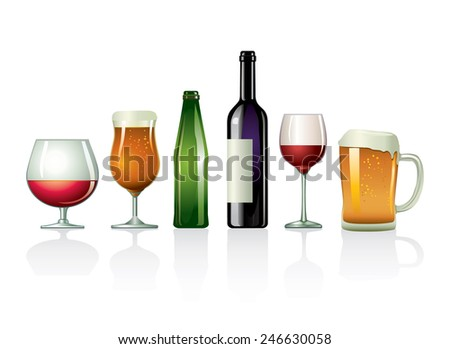 Alcoholic drinks - stock vector