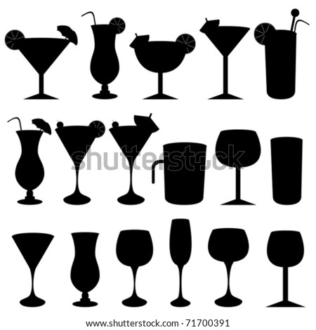 Alcoholic drinks, cocktails and glasses - stock vector