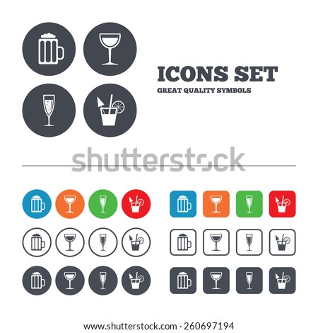 Alcoholic drinks icons. Champagne sparkling wine with bubbles and beer symbols. Wine glass and cocktail signs. Web buttons set. Circles and squares templates. Vector - stock vector