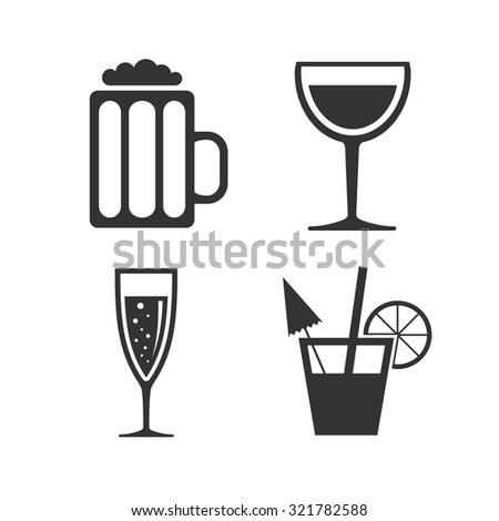 Alcoholic drinks icons. Champagne sparkling wine with bubbles and beer symbols. Wine glass and cocktail signs. Flat icons on white. Vector - stock vector