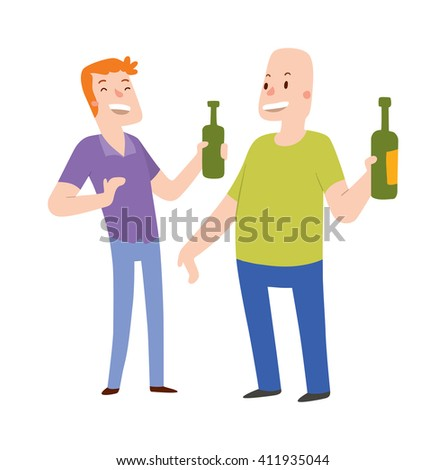 Alcoholics people in nightclub dancing, drinking and having fun character celebration party people vector. Alcoholics people group and alcoholics people smiling couple alcohol friendship concept. - stock vector