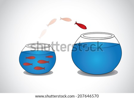 alert young fish escaping from crowded small glass bowl to big.  a smart red happy fish jumping from a small a glass tank with blue water to a big one - passion risk taking concept illustration art  - stock vector