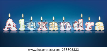 ALEXANDRA written with burning candles - vector illustration