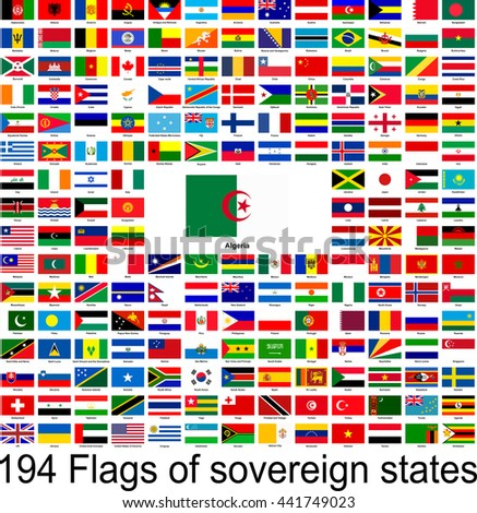 Algeria, collection of vector images of flags of the world