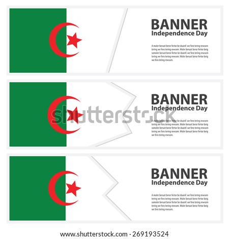 algeria Flag banners collection independence day template backgrounds, infographic - stock vector