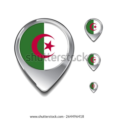 Algeria flag map pointer. 3d Map Pointer with flag glossy button style on gray background - stock vector