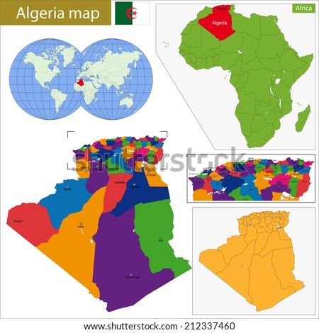 Algeria map with high detail and accuracy and it is divided into provinces which are colored with different bright colors - stock vector