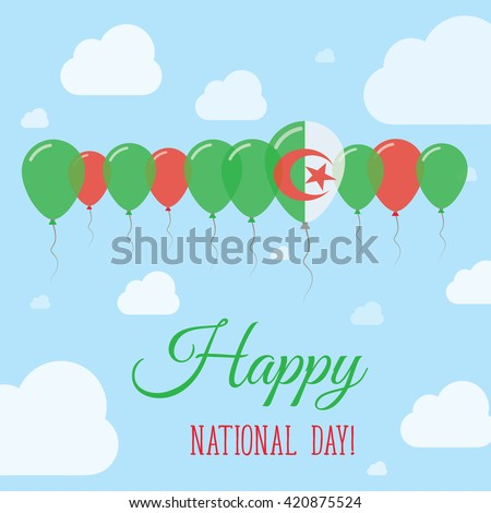 Algeria National Day Flat Patriotic Poster. Row of Balloons in Colors of the Algerian flag. Happy National Day Card with Flags, Balloons, Clouds and Sky. - stock vector