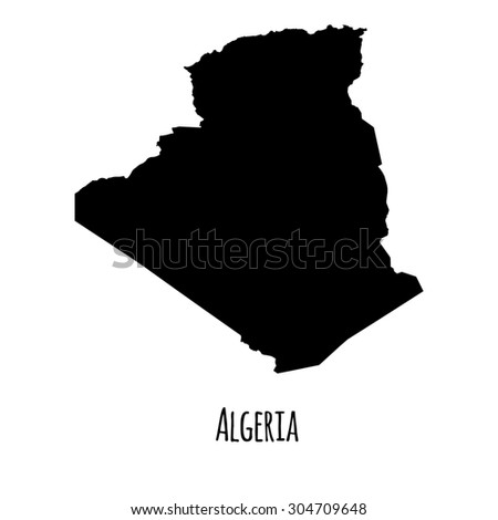 Algeria vector black outline map with caption on white background.  - stock vector