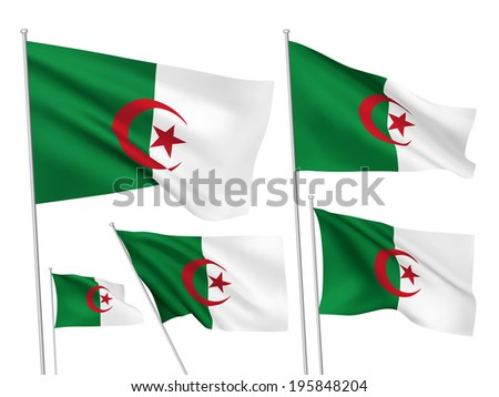 Algeria vector flags. A set of 5 wavy 3D flags created using gradient meshes. - stock vector