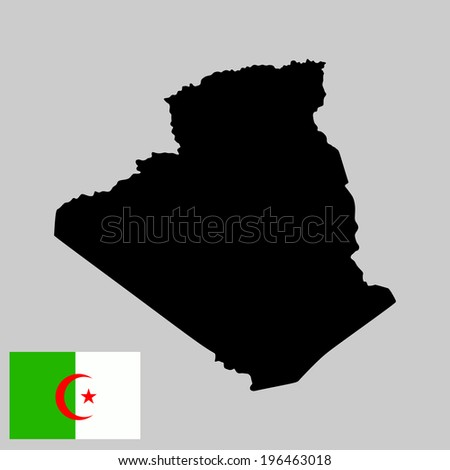 Algeria vector map and vector flag isolated on gray background. High detailed silhouette illustration.  - stock vector