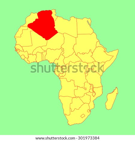 Algeria vector map isolated on Africa map. Editable vector map of Africa. - stock vector