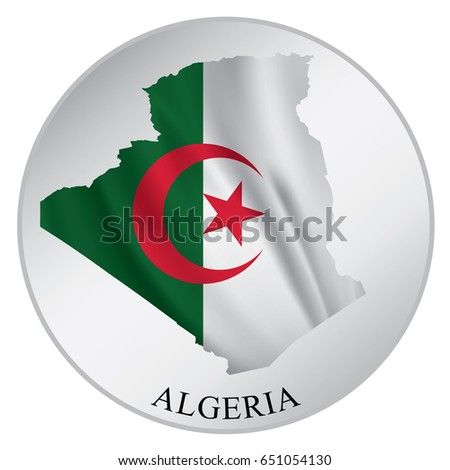 Algeria vector sticker with flag and map label round tag with country name