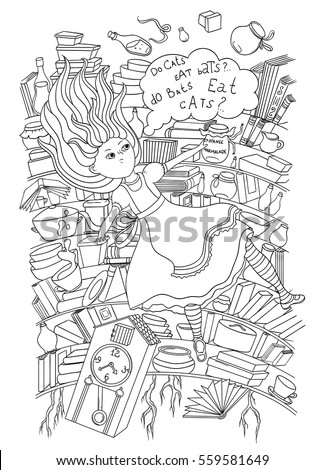 Alice Wonderland Alice Falling Down Into Stock Vector 559581649 ...