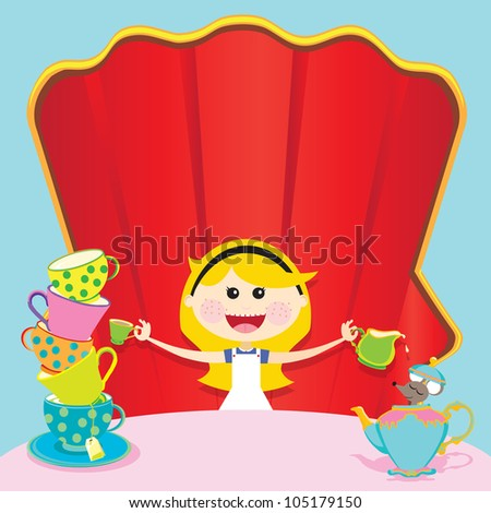 Alice in Wonderland Unbirthday Party Invitations with room for your copy on chair and table. - stock vector