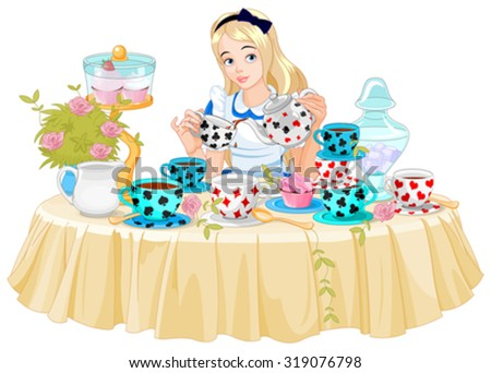 Alice pours a cup of tea from the kettle - stock vector