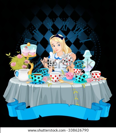 Alice pours a cup of tea from the kettle