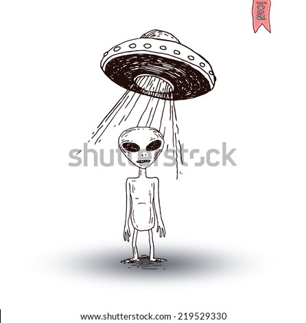 Alien and ufo icon, hand drawn vector illustration. - stock vector