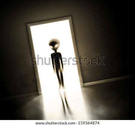 Alien at door, eps 10 - stock vector