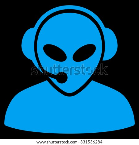 Alien Call Center vector icon. Style is flat blue symbol, rounded angles, black background.